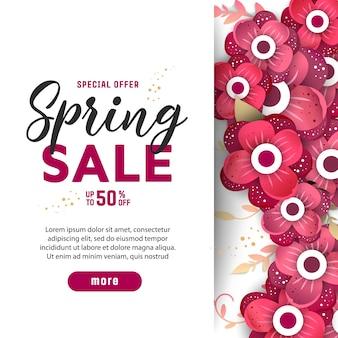 Venta de primavera con flores cortadas de papel.