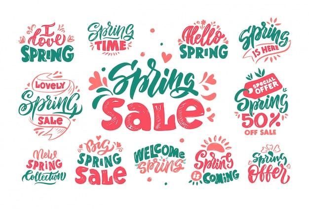 Venta de primavera letras conjunto de logotipos vectoriales dibujados a mano.