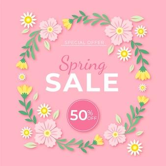 Venta de primavera plana marco floral