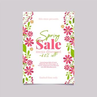 Venta de primavera en plantilla de diseño plano de flyer de tiendas