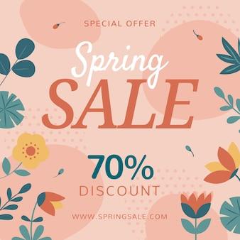Venta de primavera promocional de diseño plano