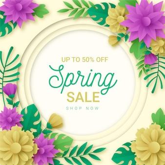 Venta de primavera realista en estilo papel.