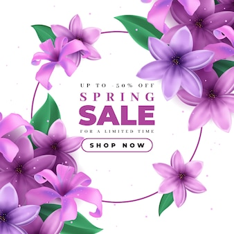 Venta de primavera realista con flores violetas en flor
