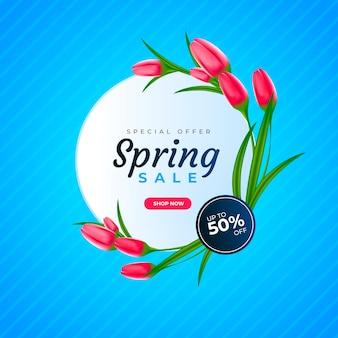 Venta de primavera realista con tulipanes