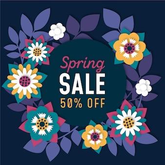 Venta de primavera de tonos azules coloridos en estilo de papel