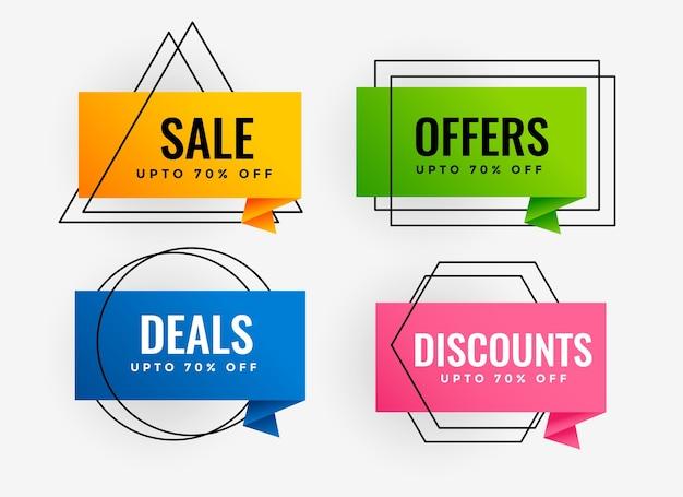 Venta promocional y diseño de etiquetas de oferta de banner.