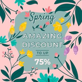 Venta promocional de primavera dibujada a mano