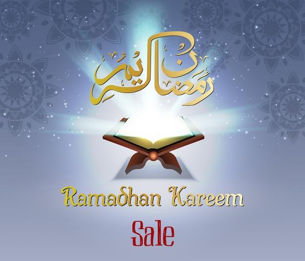 Venta de ramadán con corán y caligrafía.
