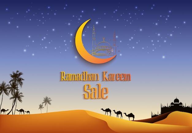 Venta de ramadan kareem con camellos en el desierto.