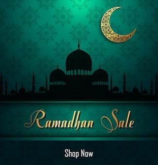 Venta de ramadán kareem con mezquita.