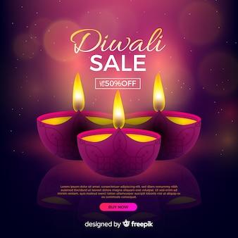 Venta realista de diwali con descuento