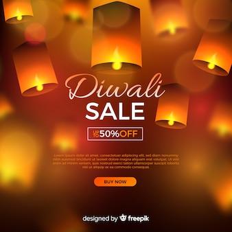 Venta realista de diwali con oferta