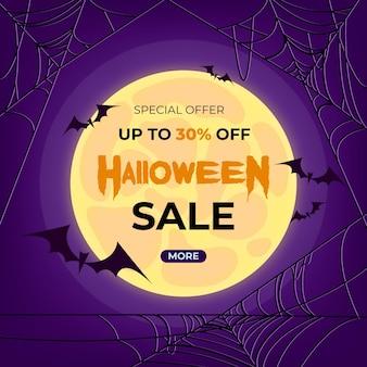 Venta realista de halloween con murciélagos.