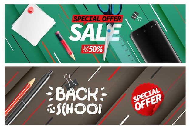 Venta de regreso a la escuela, conjunto de banners de oferta especial