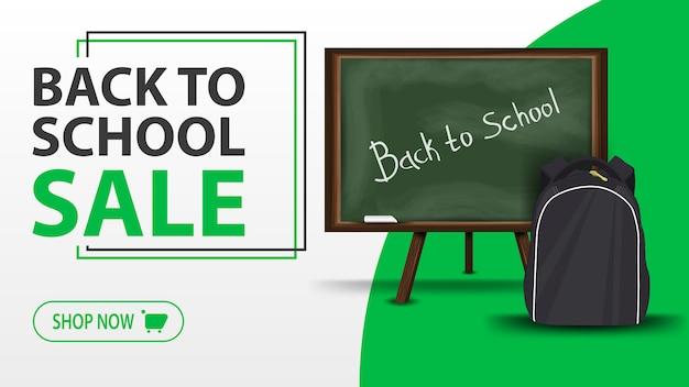 Venta de regreso a la escuela, pancarta blanca con junta escolar y mochila escolar