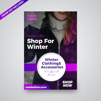 Venta de ropa de invierno diseño de flyer.