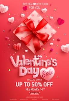 Venta de san valentín 50% de descuento en banner con linda caja de regalo y dulces corazones en rojo