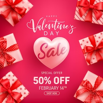 Venta de san valentín 50% de descuento en banner con linda caja de regalo en rosa