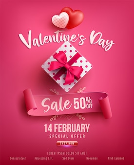 Venta de san valentín cartel o pancarta con dulce regalo, dulce corazón y artículos preciosos en rosa. plantilla de promoción y compras o para el amor y el día de san valentín