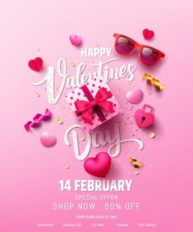 Venta de san valentín cartel o pancarta con dulce regalo, dulce corazón y artículos preciosos
