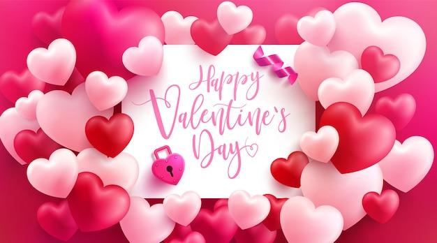 Venta de san valentín cartel o pancarta con muchos corazones dulces y en rosa. plantilla de promoción y compras o para el amor y el día de san valentín