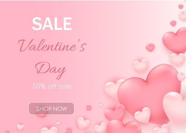Venta de san valentín con corazones rosas