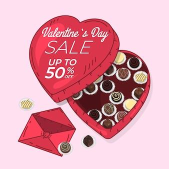 Venta de san valentín dibujada a mano con caja de chocolate en forma de corazón