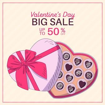 Venta de san valentín dibujada a mano con gran caja de chocolate