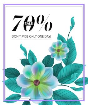 Venta setenta por ciento, no se pierda solo un día, folleto con flor azul y marco.