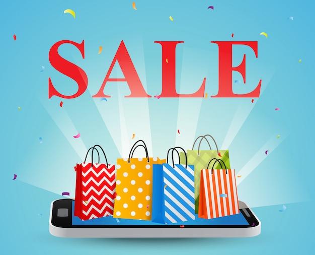 Venta con smartphone y coloridas bolsas de compras.