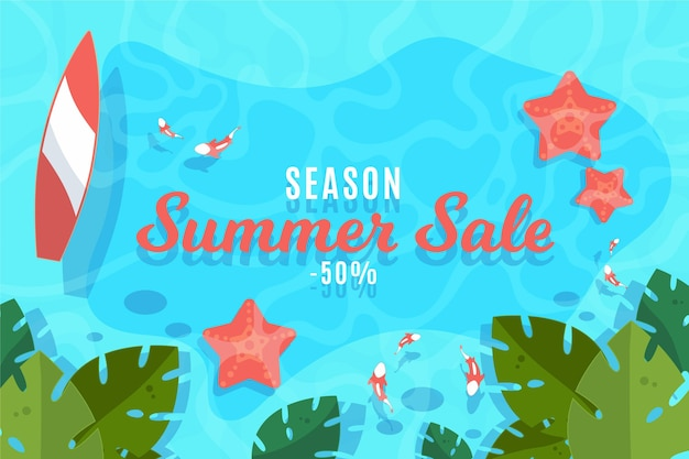 Venta de temporada de verano diseño plano
