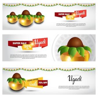 Venta de vacaciones compras feliz ugadi gudi padwa tarjeta de felicitación de año nuevo hindú conjunto de banners