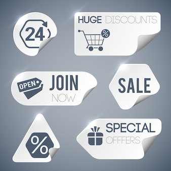 Venta y venta minorista de etiquetas grises con ofertas especiales símbolos estilo de papel ilustración aislada