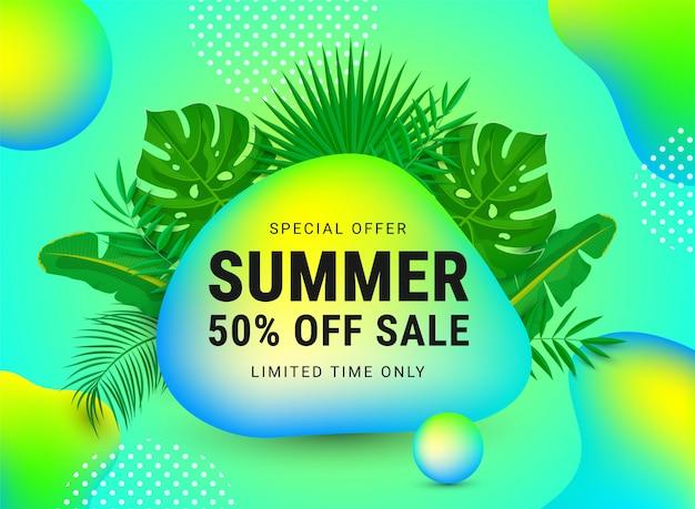 Venta de verano 50 por ciento de descuento banner web promocional decorar con hojas de palma y formas abstractas de neón líquido, texto. vale de descuento plantilla de diseño de diseño. ilustración