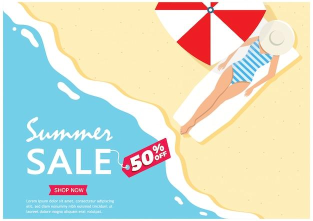 Venta de verano. hasta un 50% de descuento en el banner de la barra lateral de la gran venta