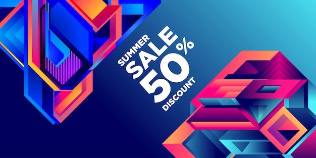 Venta de verano 50% descuento colorido abstracto geométrico banner