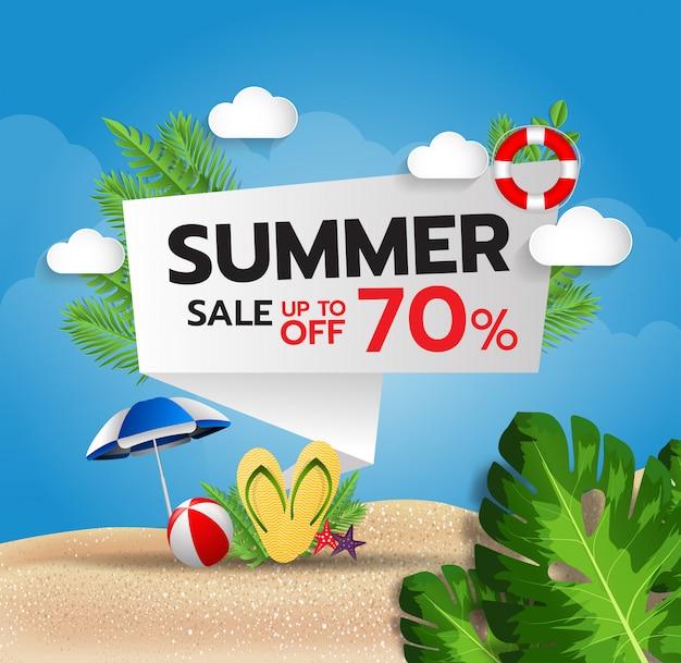 Venta de verano hasta el 70% de descuento. hermosa plantilla de banner