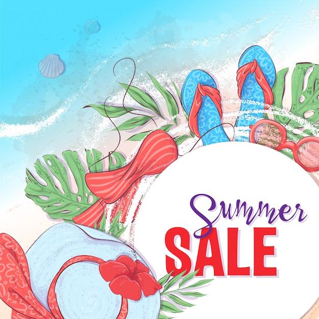 Venta de verano con accesorios de playa en la arena. ilustración vectorial