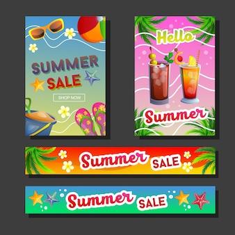 Venta de verano banner bebidas y colección de playa