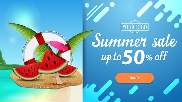 Venta de verano, banner de descuento horizontal con hermosos paisajes y diseño moderno.