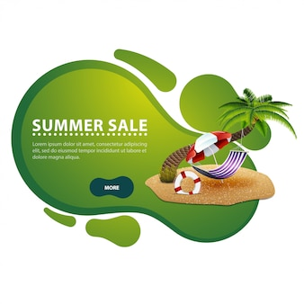 Venta de verano, banner de descuento moderno en forma de líneas suaves para su negocio.