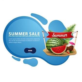 Venta de verano, banner de descuento moderno en forma de líneas suaves.