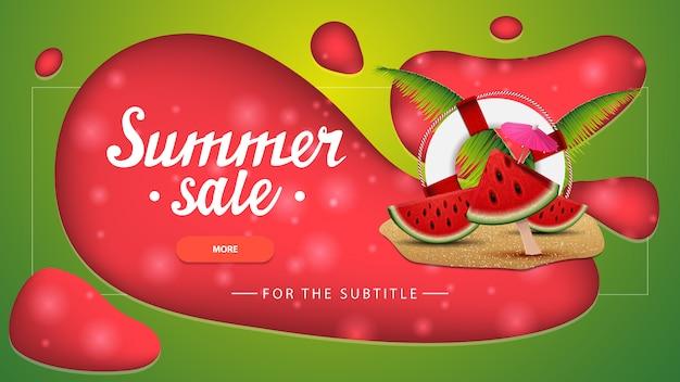 Venta de verano, banner de descuento verde con diseño moderno para su sitio web.