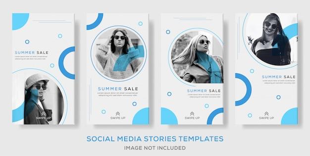 Venta de verano banner publicar historias para medios sociales. color de bule premium
