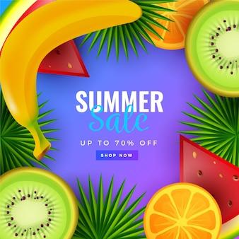 Venta de verano de banner realista