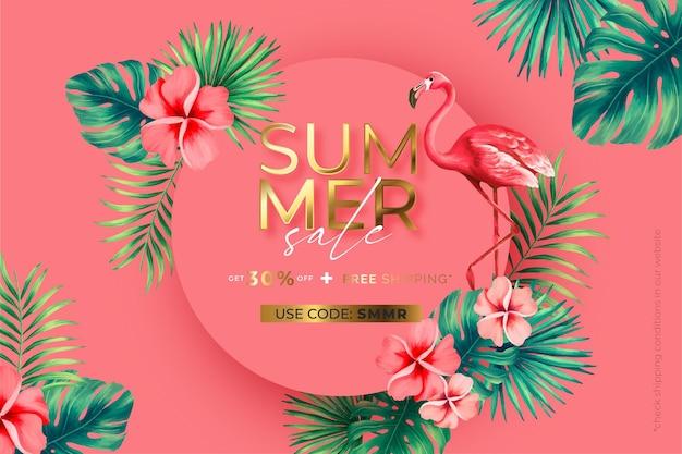 Venta de verano banner tropical con naturaleza tropical.