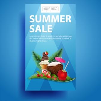 Venta de verano, banner vertical moderno y elegante para tu negocio.