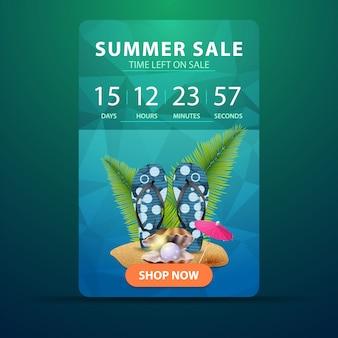 Venta de verano, banner web con cuenta atrás hasta el final de la venta.