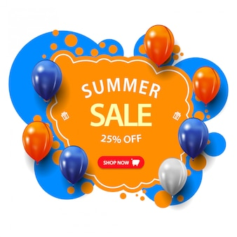 Venta de verano, banner web de descuento azul y naranja con gran oferta, botón y globos en estilo graffiti
