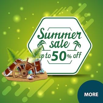 Venta de verano, banner de web de descuento cuadrado para su sitio web con cofre del tesoro